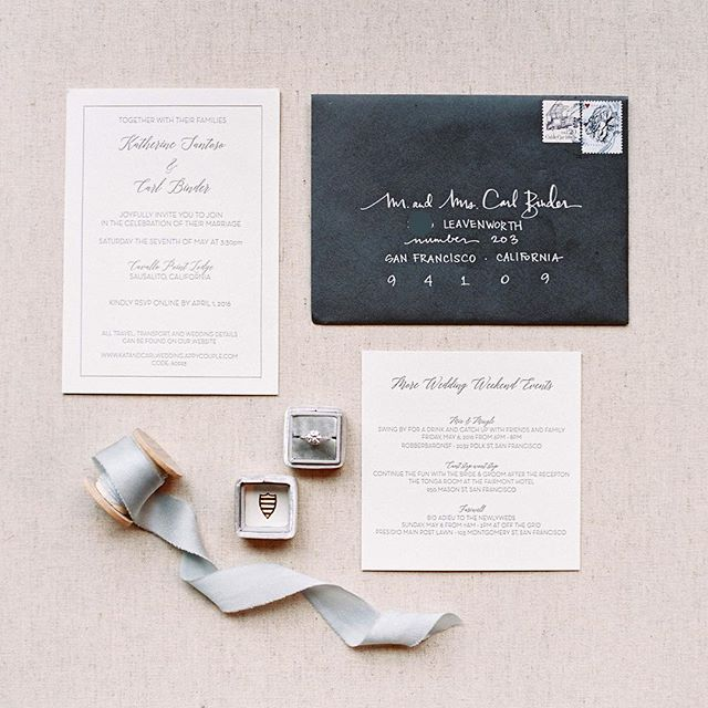 Beautiful photo of recent #letterpress #weddinginvitation work thanks to a very thoughtful couple and talented photographer - though I can't take credit for that knockout sparkler 💍 #calligraphy #handlettered