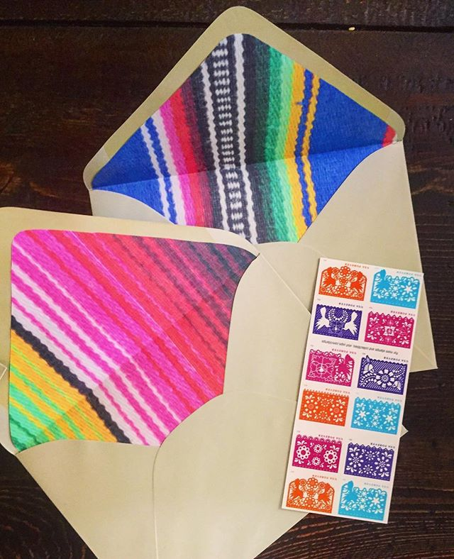 Pretend I posted these serape liners yesterday? #cincodemayo #weddinginvitations #roundtwo #adaylate . . . . #marthastewartweddings #greenweddingshoes #theknot