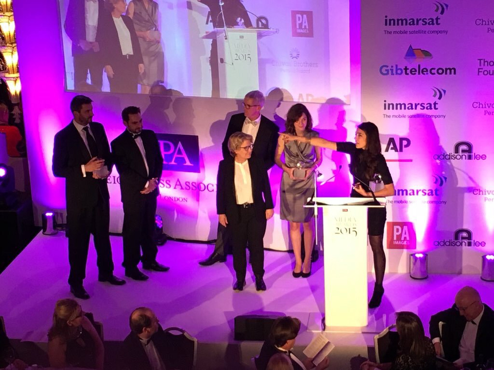 Accepting my award for TV News Story of the Year, from left to right: James Brabazon, Job Rabkin, compere Sandi Toksvig and director Lottie Gammon.