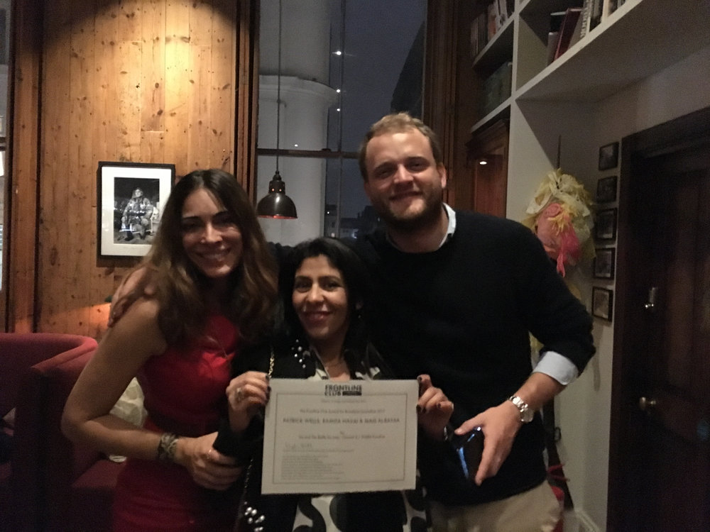 With director Patrick Wells and producer Mais AlBayaa with the Frontline Club Award for Broadcast Journalism 2017