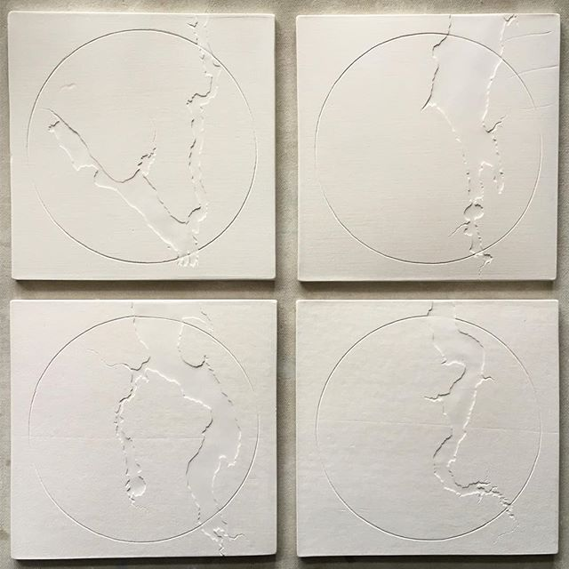 """South sound pride! Four of the Puget Sound's southernmost bays & inlets on 7"""" tiles. These are part of a great big pile of new work headed with me to Seattle next weekend. I've been so busy and can't wait to share :)"""