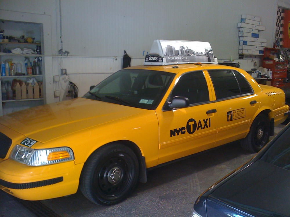 "The Apprentice TV show.  This cab was tinted for Donald Trumps ""The Apprentice"" when the contestants get fired, they ride in this cab as they explain why they were fired. The tint was used to keep the lighting in the cab optimal for filming."