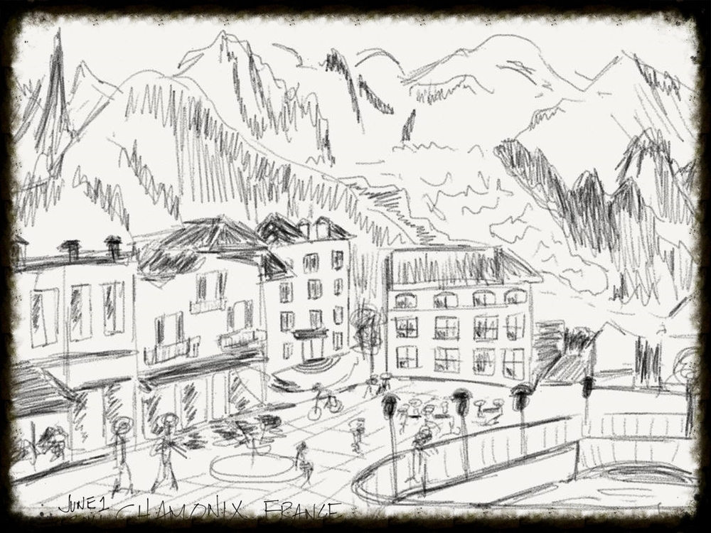 chamonix, france: ink on paper