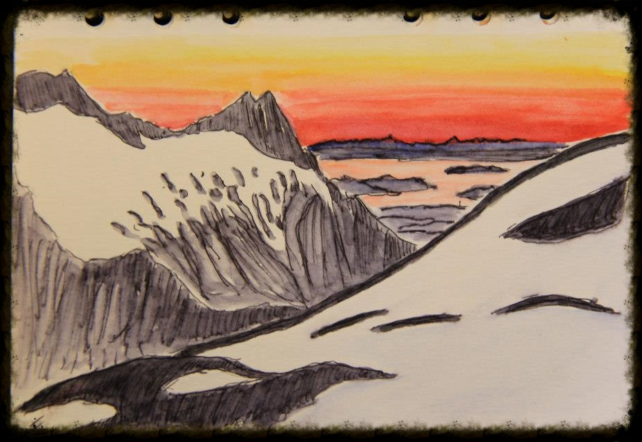 view from mt baker to san juan islands: ink and watercolor on paper