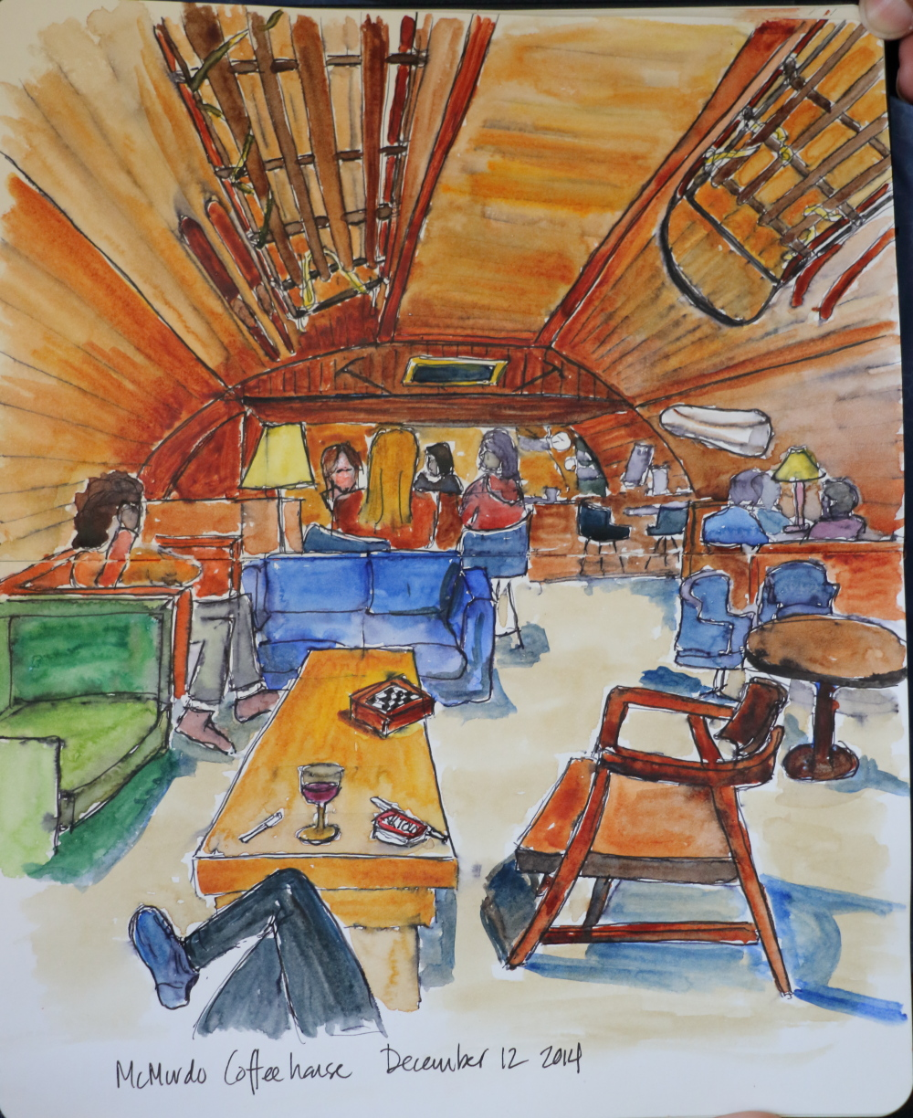 mcmurdo station coffeehouse, ink and watercolor on paper