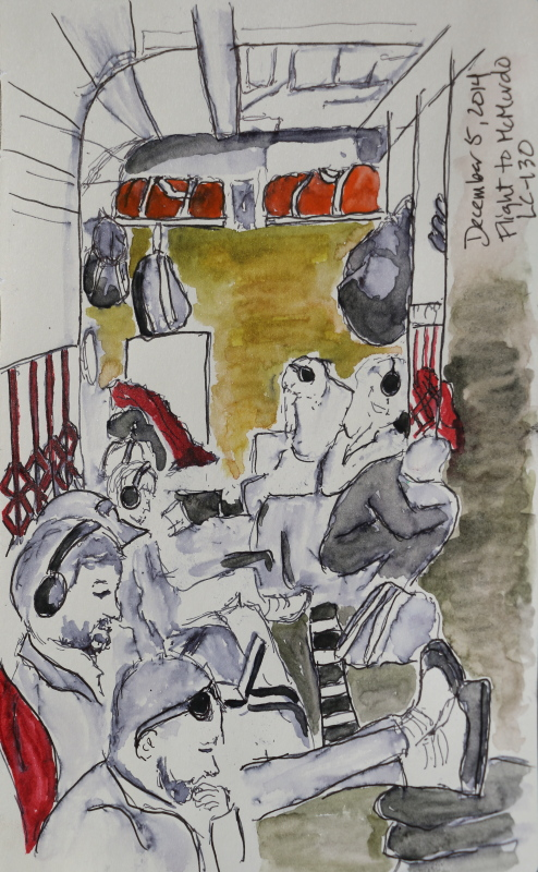 christchurch to mcmurdo crammed into a herc, ink and watercolor on paper