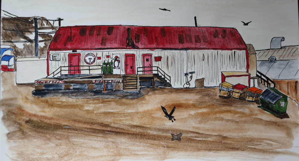 mcmurdo general hospital, ink and watercolor on paper