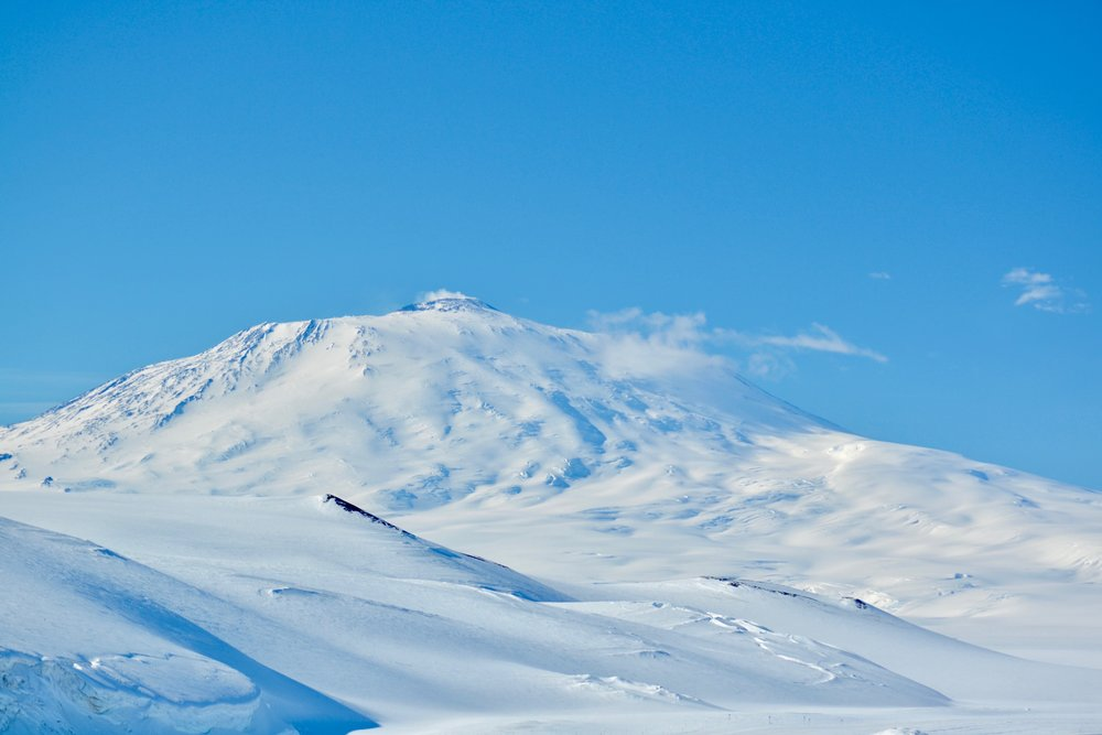 Pressure ridges in the foreground, Mt. Erebus in the background