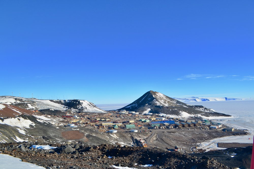 Looking down on McMurdo from a hike along Hut Point Ridge