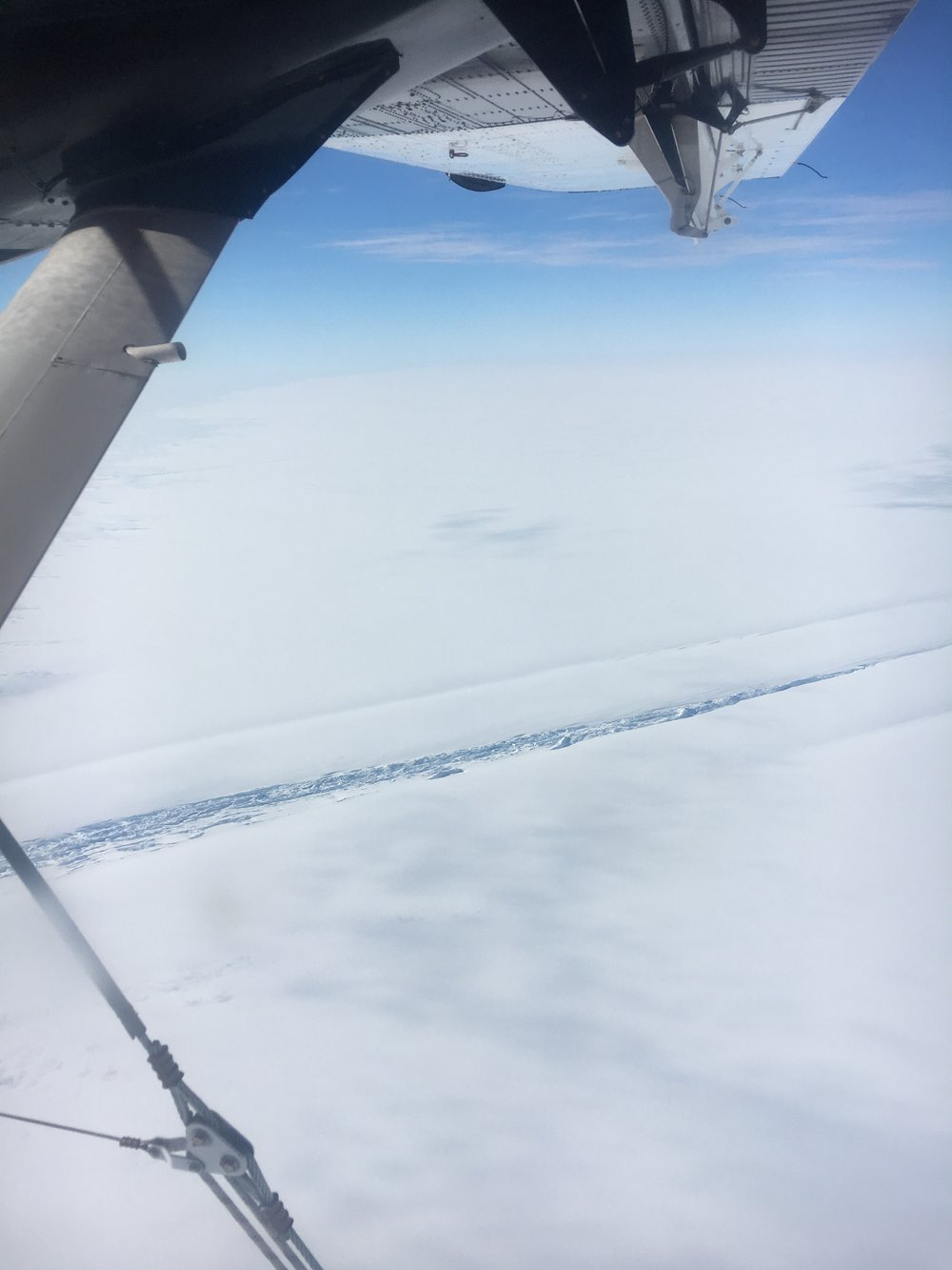 Crevasses on the ice sheet seen from the Twin Otter windows