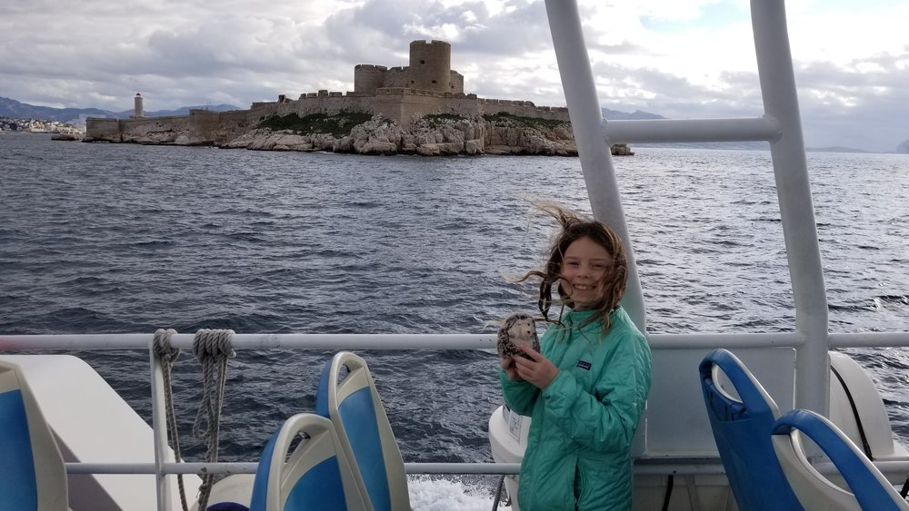 "That's an island prison we're passing - Like Alkatraz in ""Les Etas Unis"" - but this one was also a castle - ""Chateaux d'If"" . All these crazy french names…."