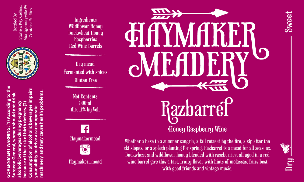 Razbarrel - Whether a base to a summer sangria, a fall retreat by the fire, a sip after the ski slopes, or a splash planting for spring, Razbarrel is a mead for all seasons. Buckwheat and wildflower honey blended with raspberries, all aged in a red wine barrel give this a tart, fruity flavor with hints of molasses. Pairs best with good friends and vintage music. Dry Mead 500ml11% ABV