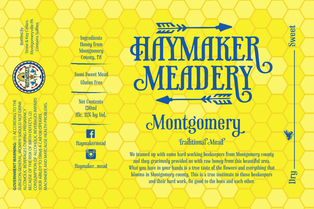 Montgomery - Available February 3rd - We teamed up with some hard working beekeepers from Montgomery county and the graciously provided us with raw honey from this beautiful area. What you have in your hands is a true taste of the flowers and everything that blooms in Montgomery county. This is a true testament to these beekeepers and their hard work. Be good to the bees and each other. Dry/Semi-Sweet Mead 750ml11% ABV