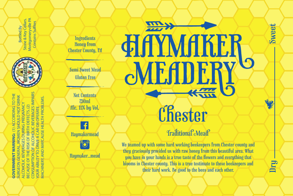 Chester - Available February 3rd - We teamed up with some hard working beekeepers from Chester County and the graciously provided us with raw honey from this beautiful area. What you have in your hands is a true taste of the flowers and everything that blooms in Chester County. This is a true testament to these beekeepers and their hard work. Be good to the bees and each other. Semi Sweet Mead 750ml11% ABV