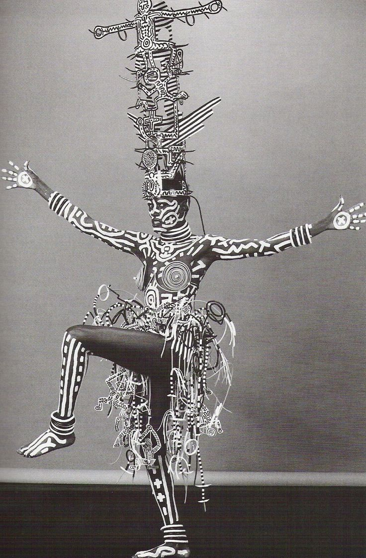 Grace Jones painted by Keith Haring and photographed by Robert Mapplethorpe.