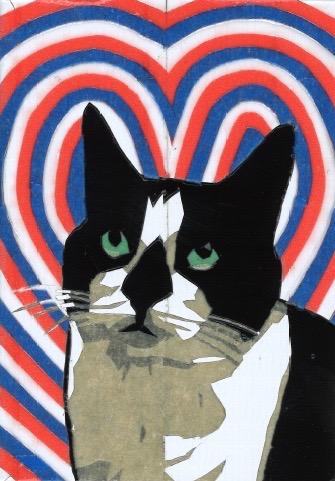 """Jill Jilliams, Sister Wife, 2.5x3.5"""", 2016, duct tape art, Mona Superhero"""