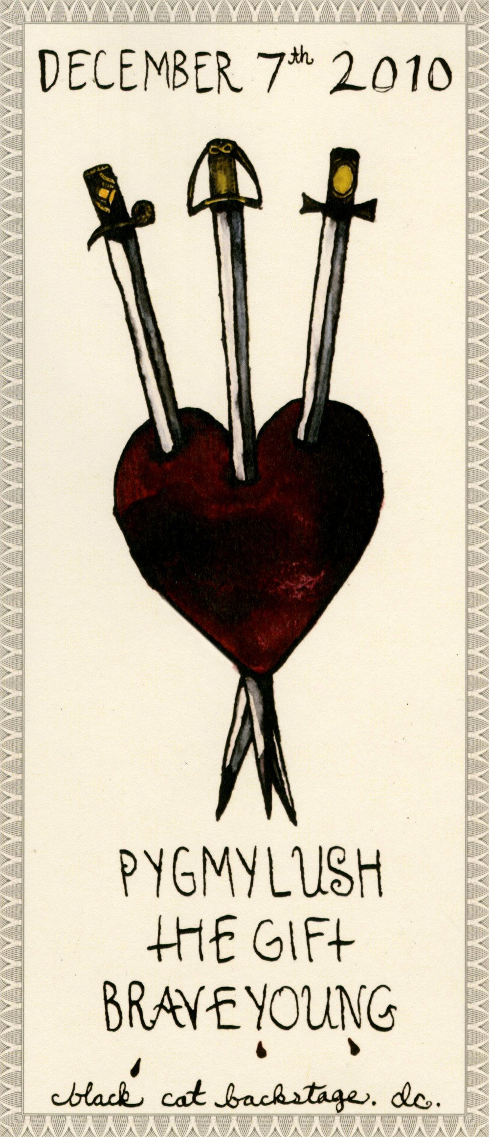 Three of swords.  Mediums: gouache, ink, wine, blood, & digital printing.  I like how this turned out but really regret having the border so dark and close in. It feels claustrophobic and would have looked a lot better with a light border further off. Learning not to overwork stuff, embrace negative space, and allow for breathing room is an ongoing process (in art + life...)