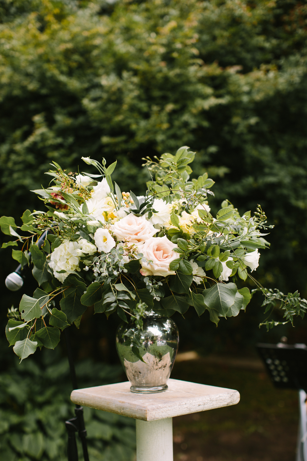 Ceremony flowers at a garden ceremony