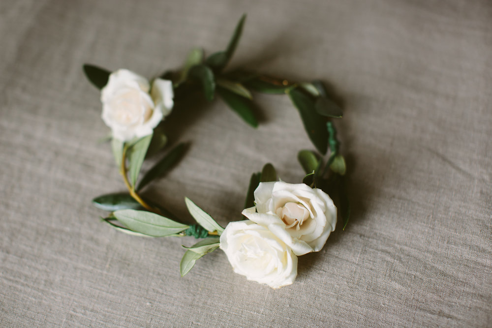 Flower girl crown  with white roses and green olives leaves