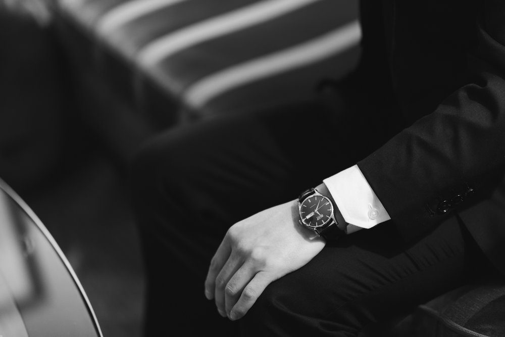 Groom wearing men's watch