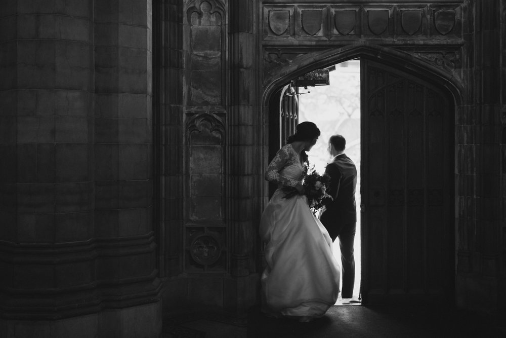 Couple leaving Knox Chapel at U of T