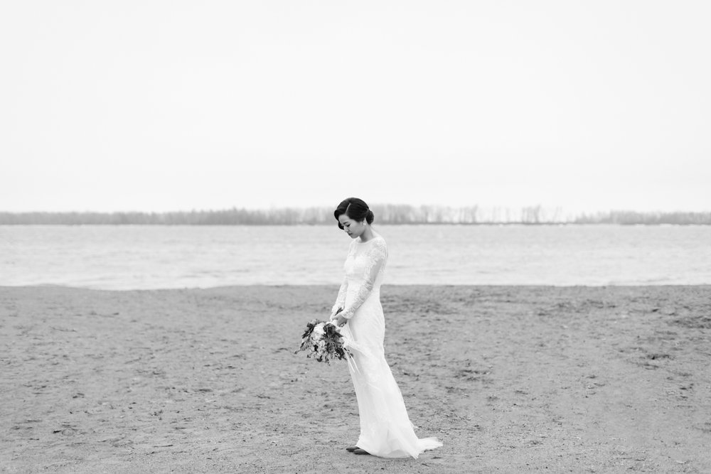 Portrait of a bride at Cherry Beach