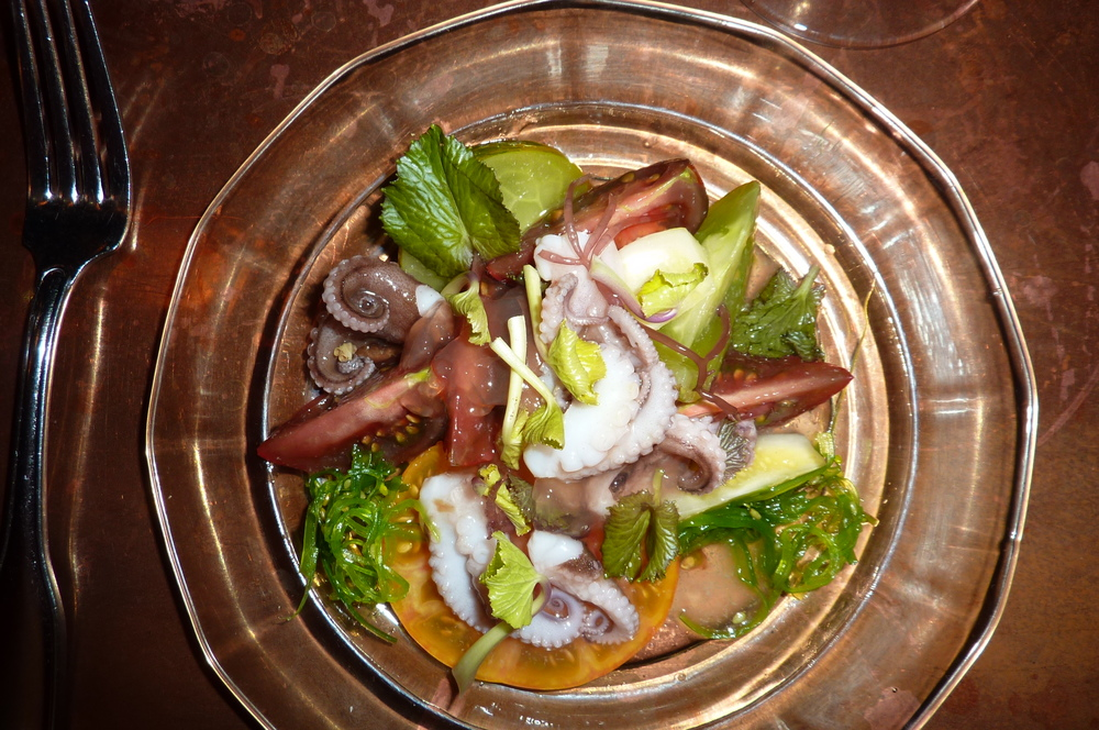 Wasabi greens with octopus and tomatoes.  Chef: David Padberg