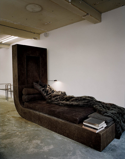 Daybed with sable blanket, by Owens