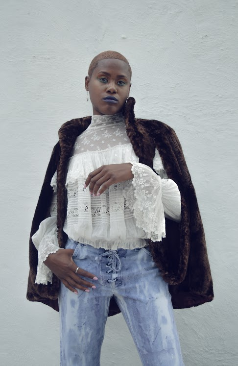 Victorian blouse and beaver cape, dyed lace up denim a la Jimi Hendrix vibes.