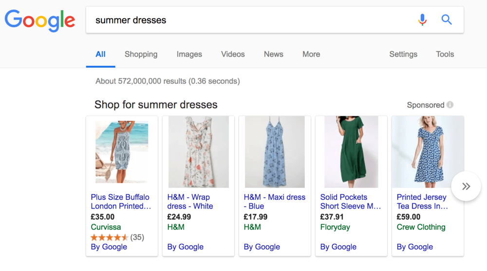 sumer dresses google shopping ads example.png