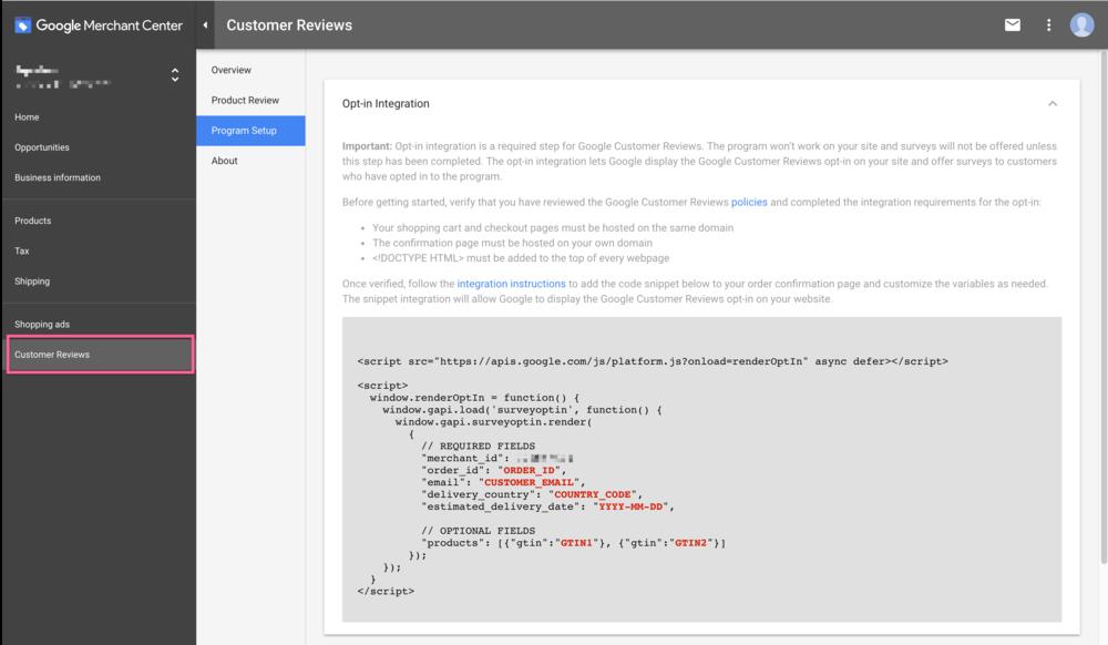 google customer reviews integration screen.png