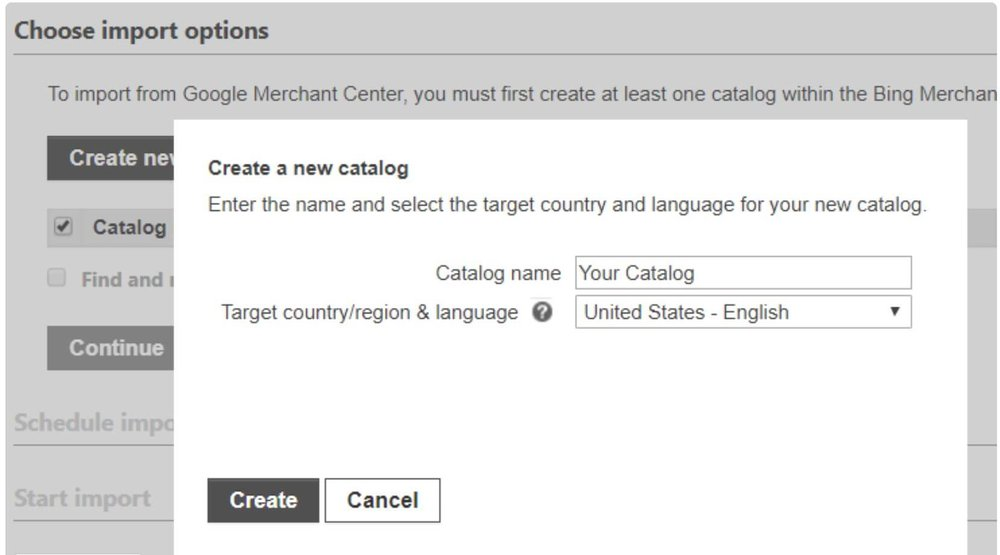 bing merchant center create new catalog.JPG