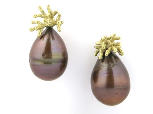 -Koralen- oorbellen met parel