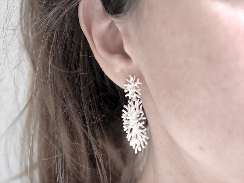 Double coral earrings