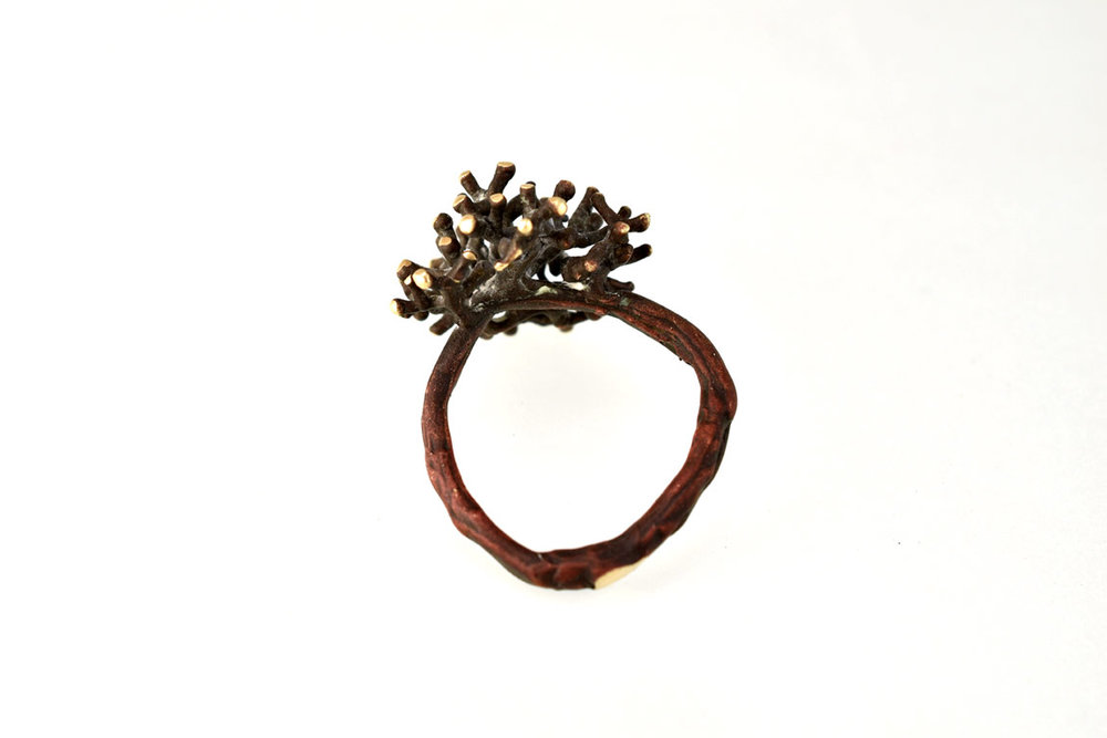 fairtrade golden coral ring