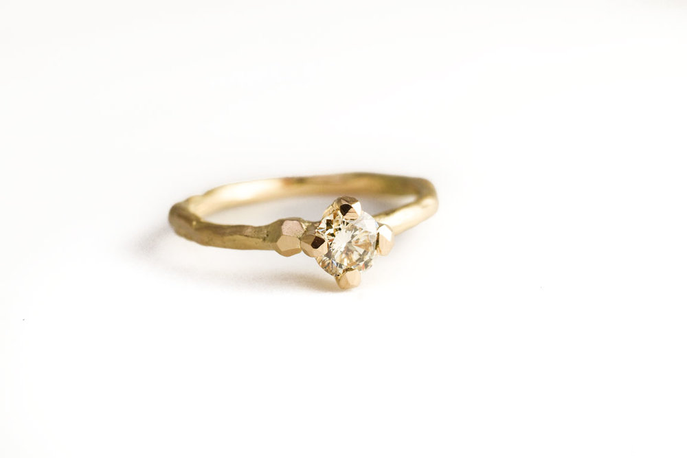 Miss Twiggy engagement ring with Chabunga yellow diamond