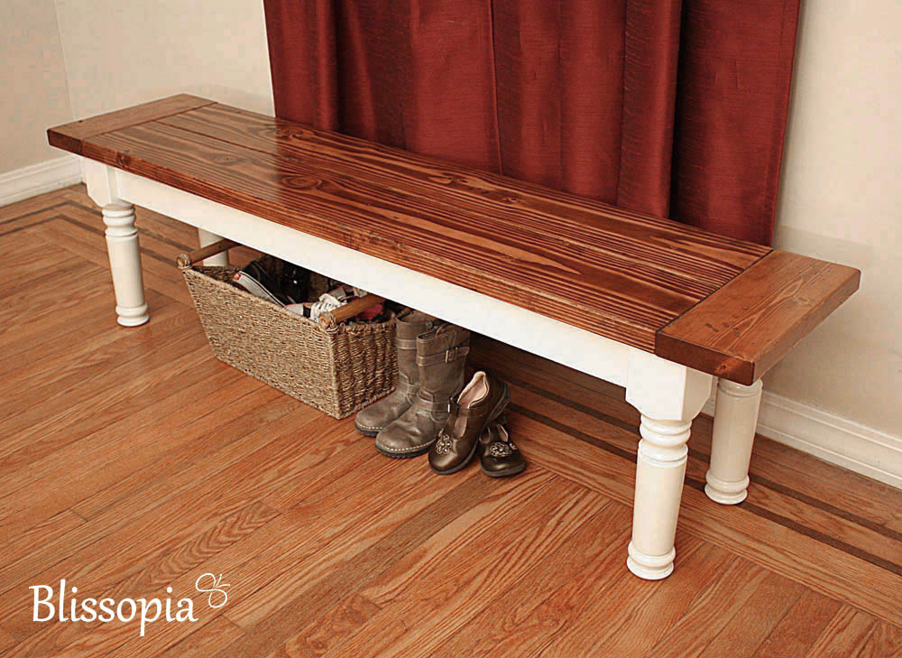 Farmhouse Bench With Spindle Legs Blissopia Rustic