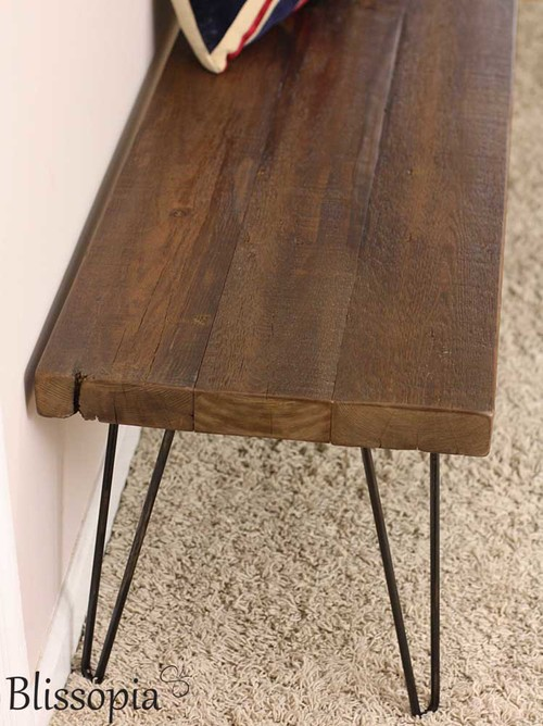 Reclaimed Wood Bench with Hairpin Legs - Reclaimed Wood Bench With Hairpin Legs €� Blissopia Rustic