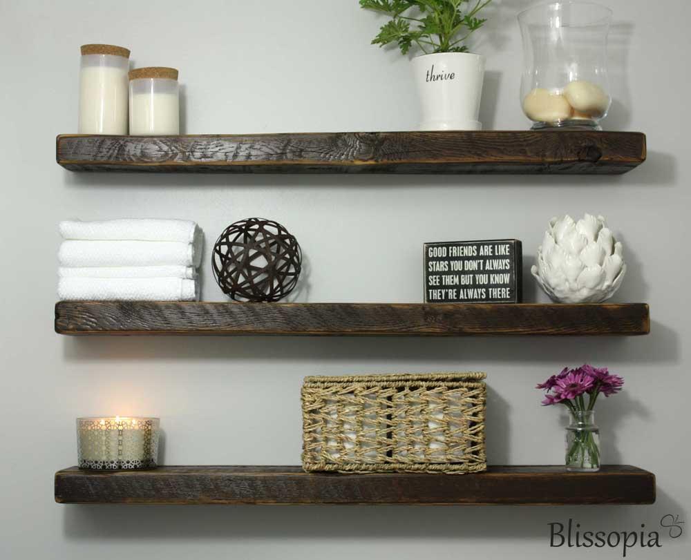 Rustic Floating Wall Shelves Part - 33: Blissopia
