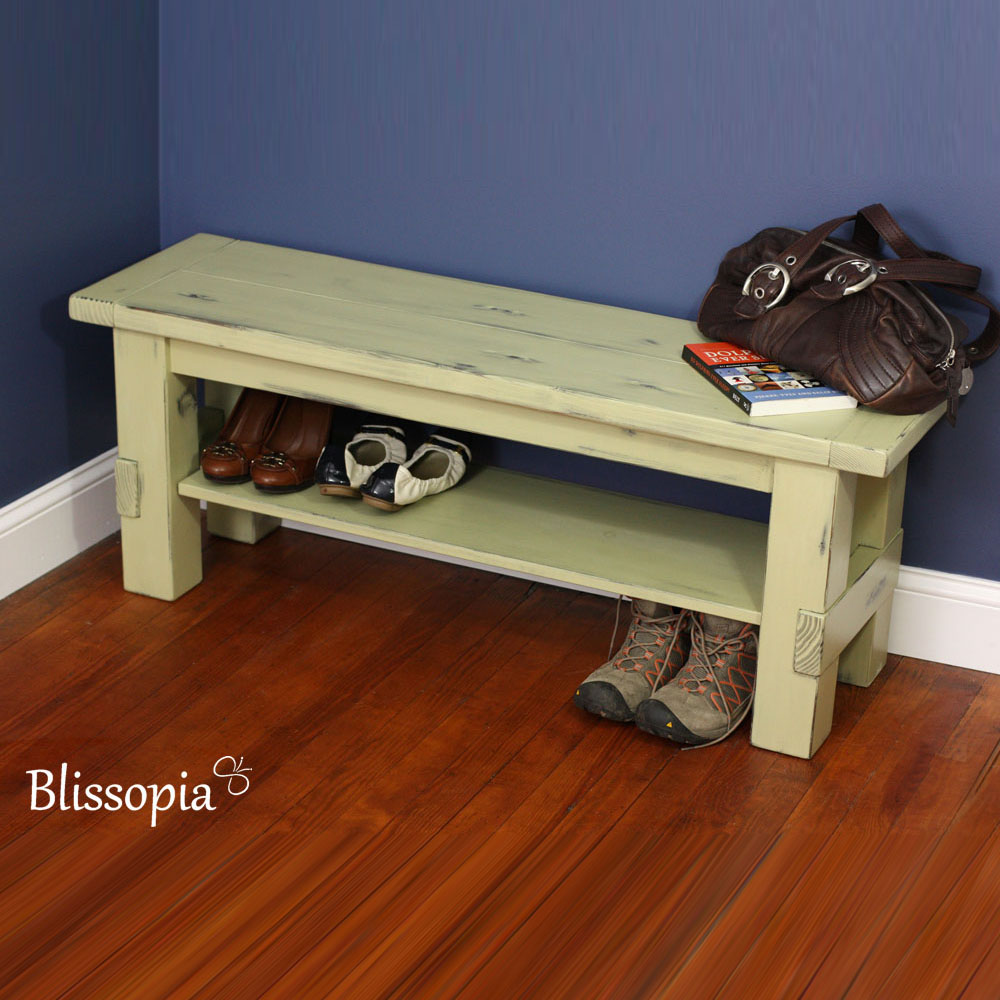 Painted And Distressed Solid Wood Storage Bench