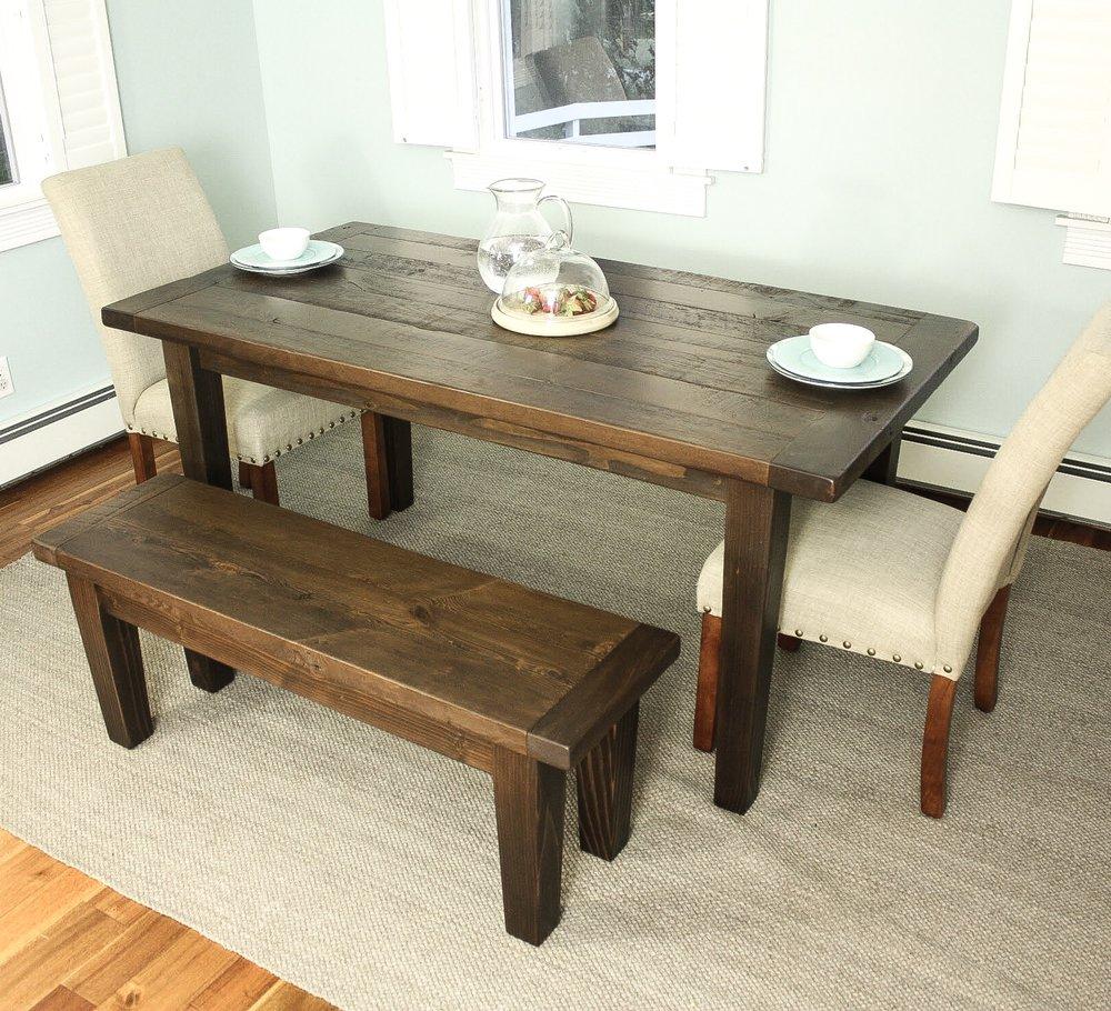 Reclaimed Wood Tapered Leg Farmhouse Table