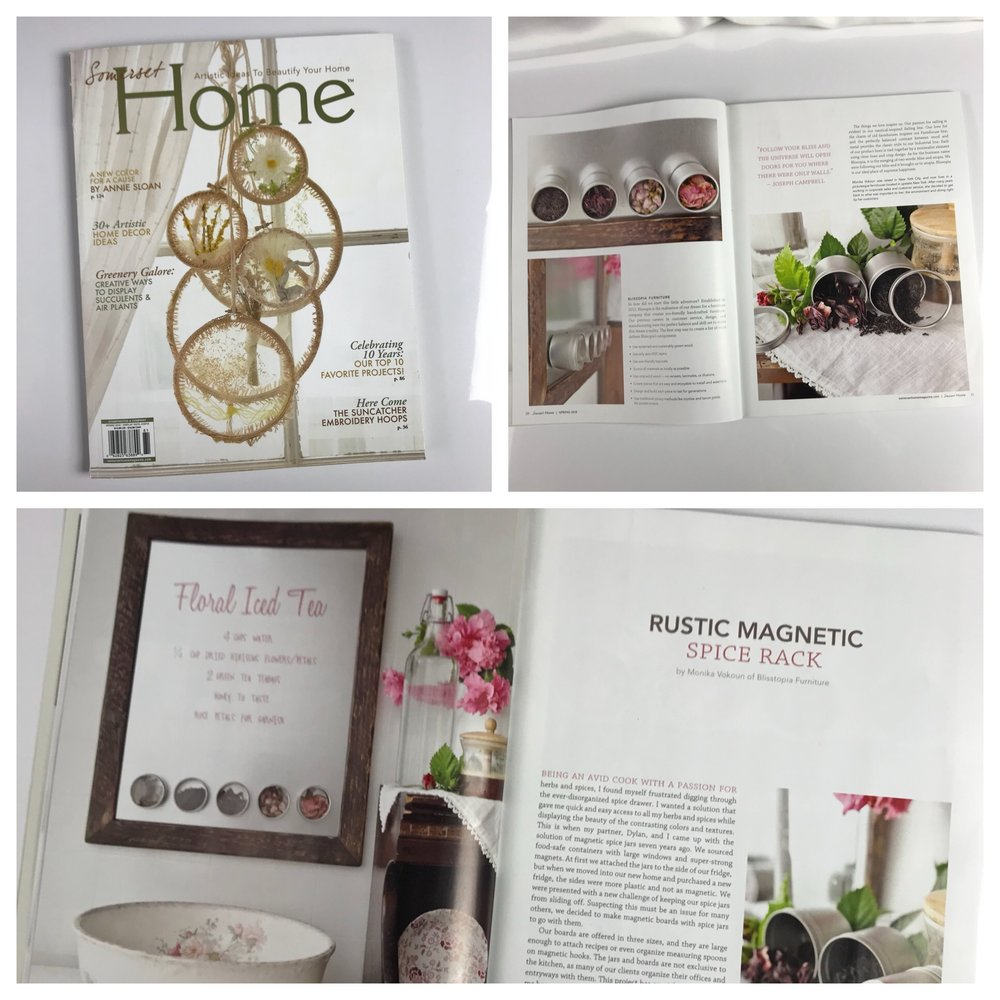 Our magnetic memo boards featured in the Spring 2018 issue of Somerset Home Magazine