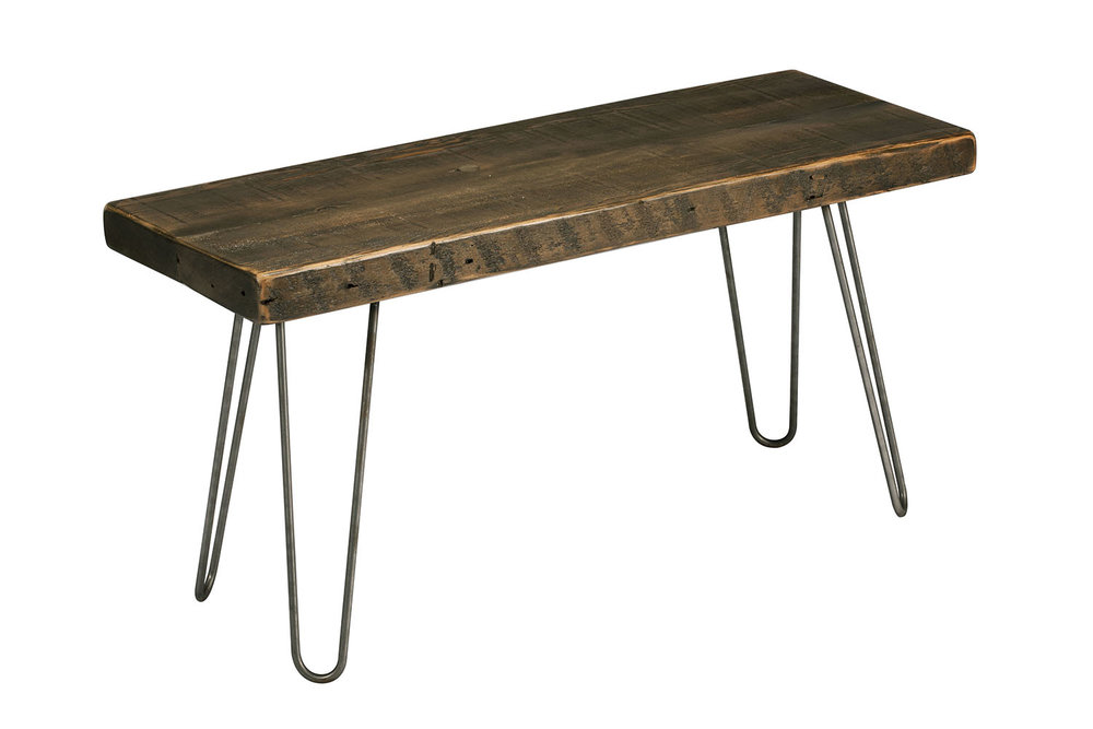 Reclaimed Wood Bench With Hairpin Legs Blissopia