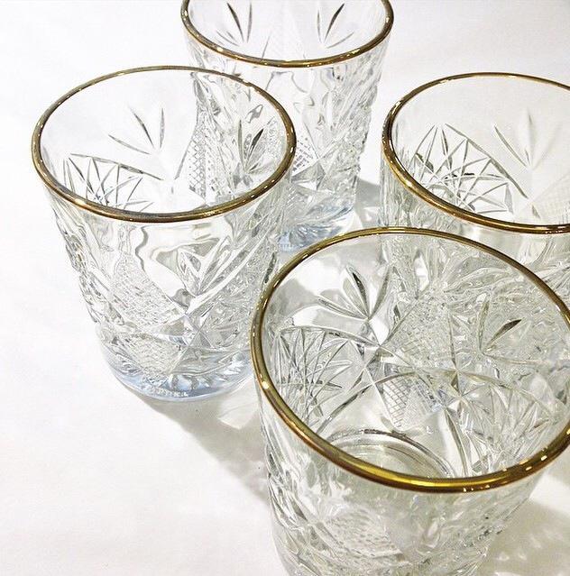 Hobstar glazen met gouden rand