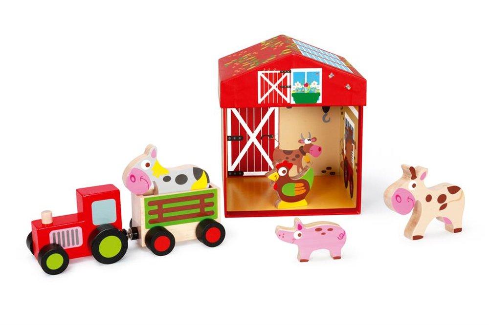 Scratch boerderij met tractor en houten dieren