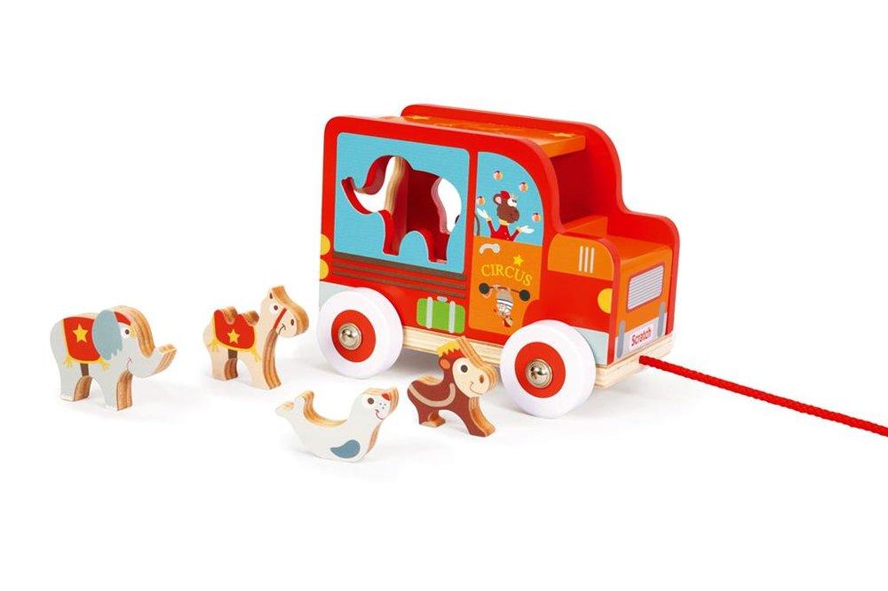 Scratch Circuswagen met houten dieren