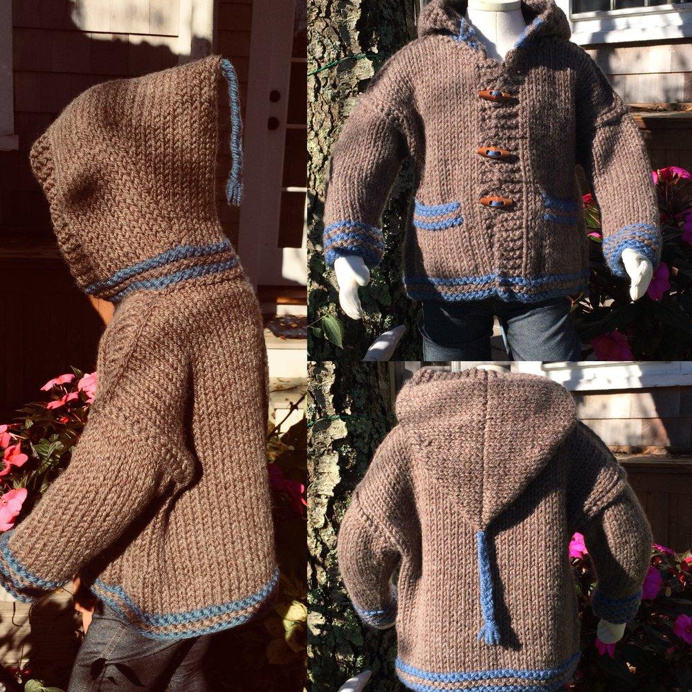 a351f778c Paddington Hooded Toggle jacket / Hand Knit Baby Sweaters