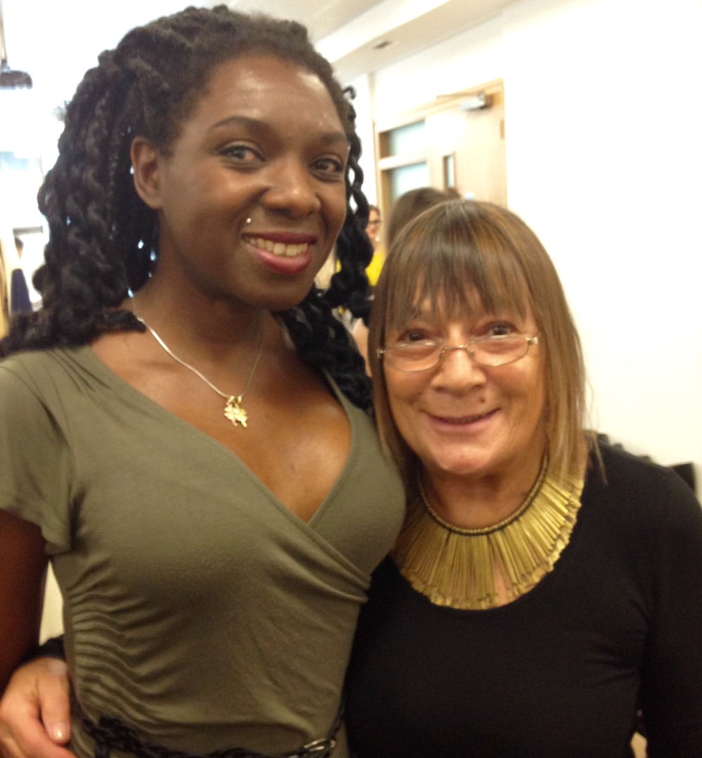 Hilary Alexander and I at the model fitting day September 2014