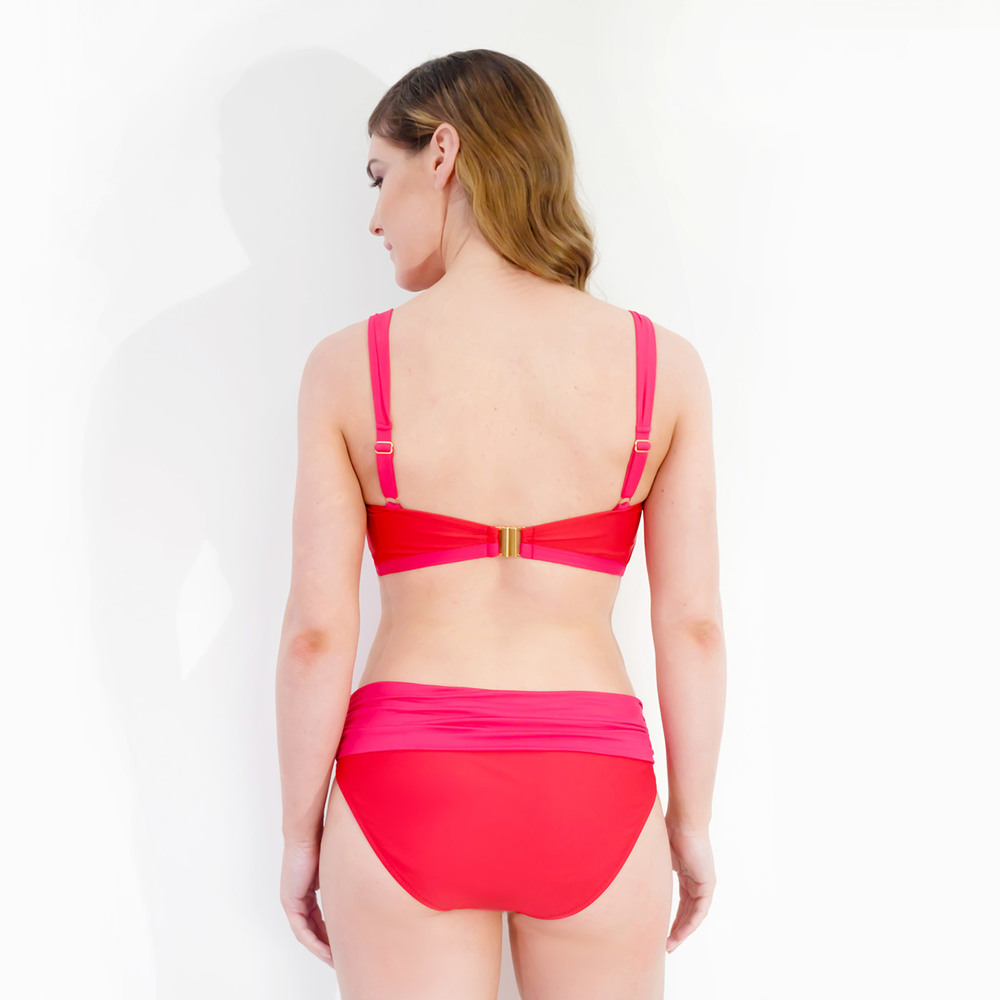 3acda7091 La Victoire Ruched Mastectomy Bikini - Coral Red Pink — Clover Lewis ...
