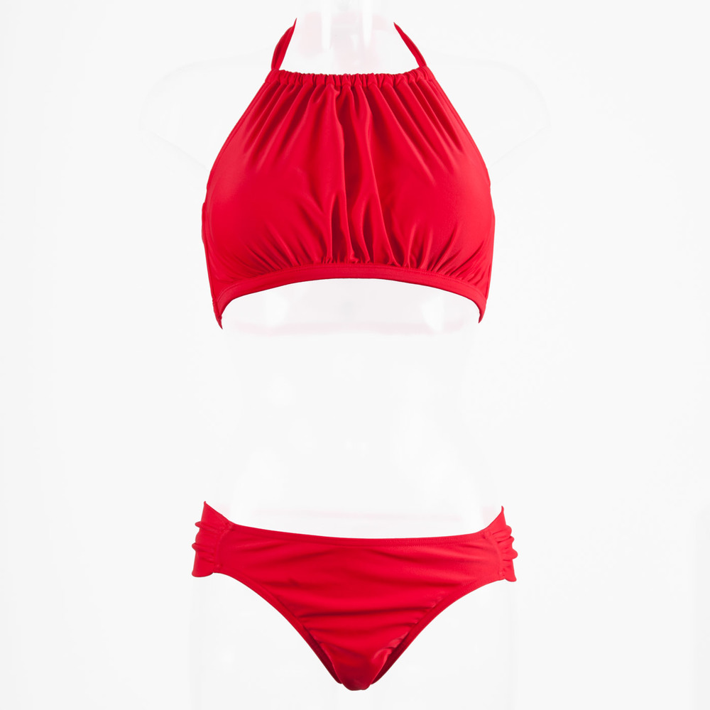 d20567b1e Dive High-Neck Bikini - Coral Red — Clover Lewis Swimwear